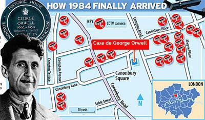 Mapa das câmeras na área da casa de George Orwell